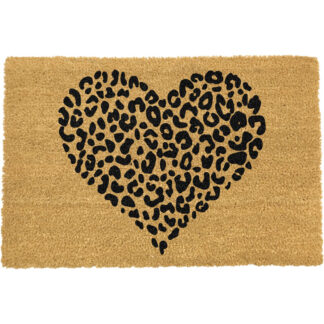 Leopard Print Heart Doormat
