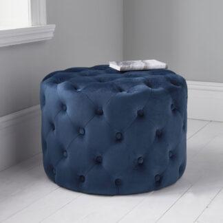 Mystique Blue Tufted Velvet Pouffe