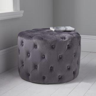 Grey Tufted Velvet Pouffe