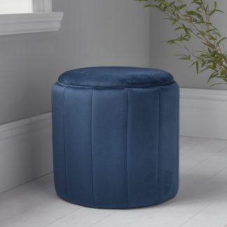 Round Mystique Blue Plush Stool