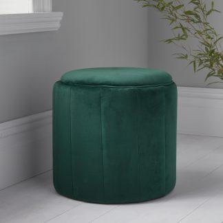 Round Deep Green Plush Stool