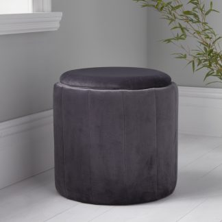 Round Grey Plush Stool