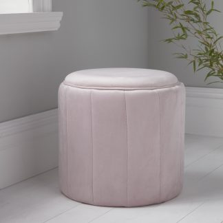 Round Pastel Pink Plush Stool