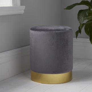 Round Grey Velvet Stool - Gold Finish