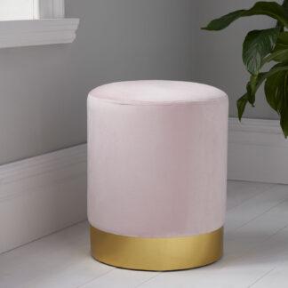Round Pastel Pink Velvet Stool - Gold Finish