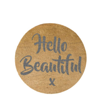 Grey Hello Beautiful Circle Doormat