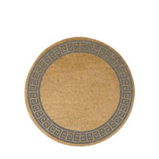 Grey Greek Border Circle Doormat