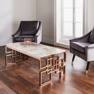 Marble Glass Rose Gold Coffee Table