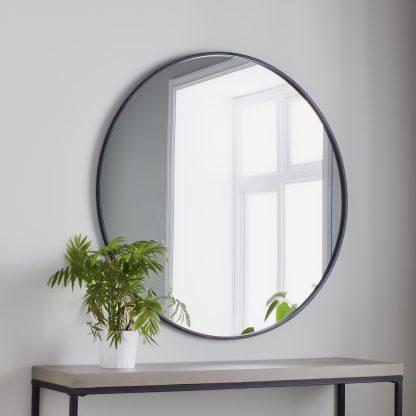 100cm Round Mirror Black Manhattan