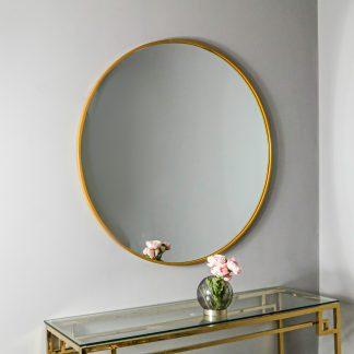 Gold Manhattan Round Mirror