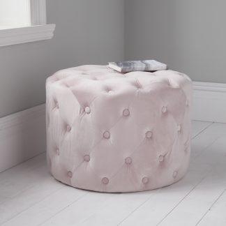 Pastel Pink Tufted Velvet Pouffe