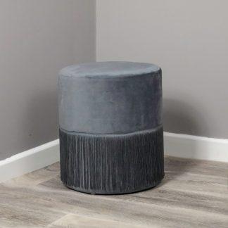 Round Grey Tassles Stool