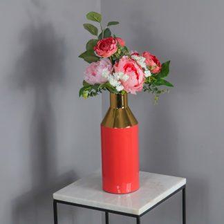Gold Stem Coral Vase