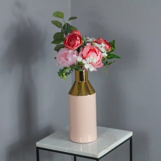 Gold Stem Pink Vase