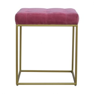 Pink Velvet Footstool with Gold Base