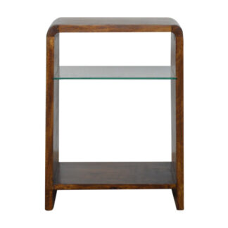 Chestnut Glass Shelf Smaller Bedside