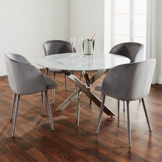 Silver Plated Marble Glass Round Dining Table