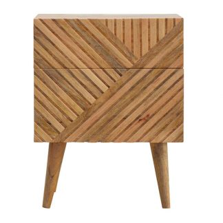Line Carving Bedside with 2 Drawers