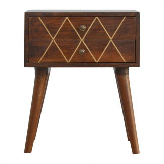 Geometric Brass Inlay Bedside