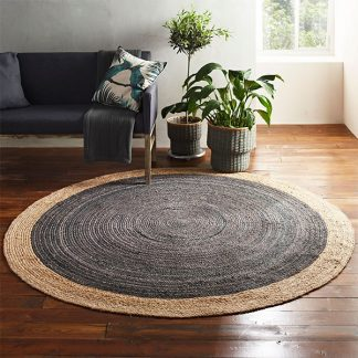 Milano Soft Jute Rug with Light Grey Centre - 120cm
