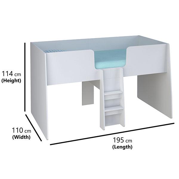 Loft Station Single 3ft Cabin Bed Frame White Inner Home