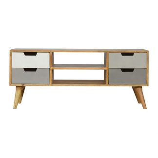 Grey Hand Painted Media Unit with 4 Drawers