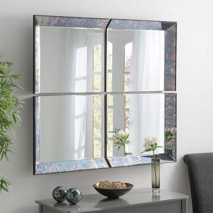 Blue Antique 4 Panel Mirror