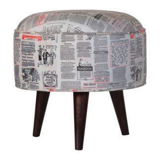 Round Footstool With News Print Velvet