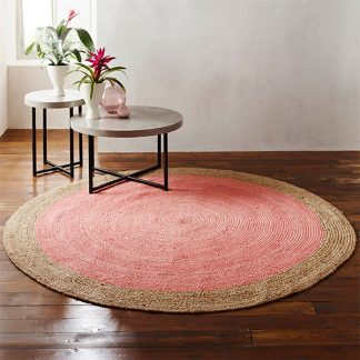 Milano Soft Jute Rug with Pale Pink Centre - 120cm