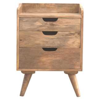 Scandinavian Styled Bedside with 3 Cut Out Drawers