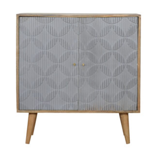 Geometric Carved Grey Painted Cabinet