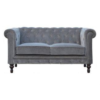 Grey Velvet 2 Seater Chesterfield Sofa