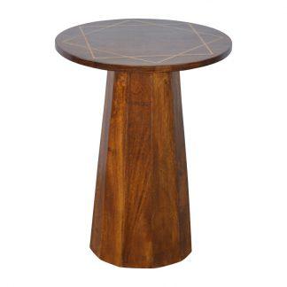 Gold Geometric Print Chestnut End Table