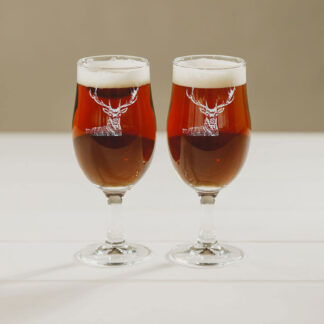 Set of 2 Stag Engraved Style Craft Beer Glasses