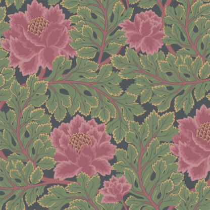 Cole and Son Aurora 116/1002 Rose & Forest on Charcoal Wallpaper