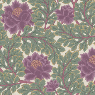 Cole and Son Aurora 116-1001 Mulberry & Sage on Parchment Wallpaper