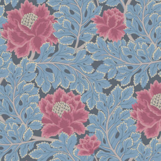 Cole and Son Aurora 116/1004 Cerise & Cerulean Blue on Midnight Wallpaper