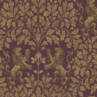 Cole and Son Boscobel Oak 116/10038 Metallic Autumnal Gold on Claret Wallpaper