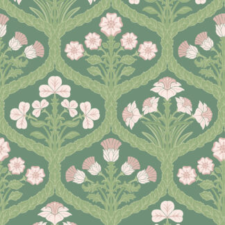 Cole and Son Floral Kingdom 116/3009 Ballet Slipper & Leaf Green on Forest Wallpaper