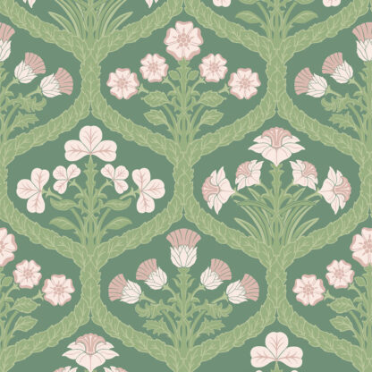 Cole and Son Floral Kingdom 116/3009 Ballet Slipper & Leaf Green on Forest Wallpaper