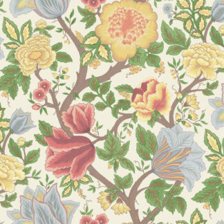 Cole and Son Midsummer Bloom 116/4013 Chartreuse, Rouge & Leaf Green on Parchment Wallpaper