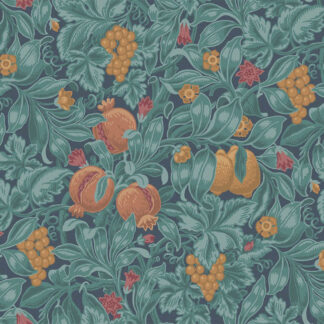 Cole and Son Vines of Pomona 116/2005 Burnt Orange & Teal on Petrol Wallpaper