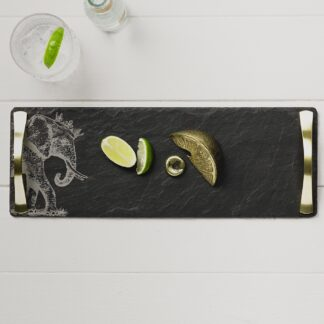 Crowned Elephant Slate Serving Tray with Gold Handles