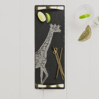 Crowned Giraffe Slate Serving Tray with Gold Handles