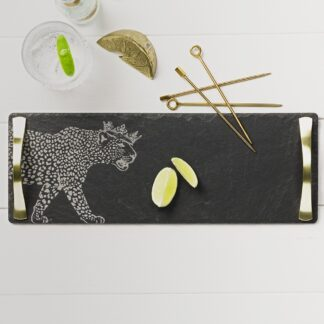 Crowned Leopard Slate Serving Tray with Gold Handles