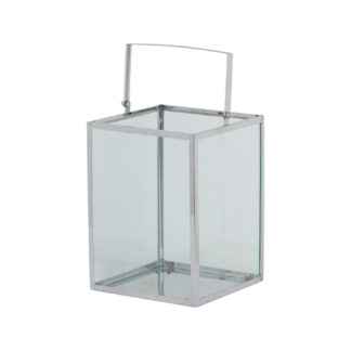 Silver Cube Contemporary Lantern With Wax Led Candle