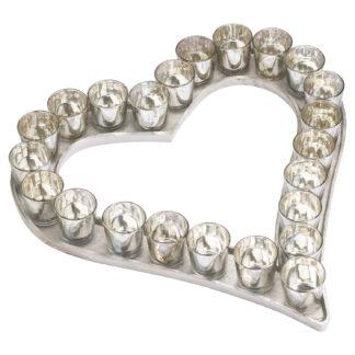 Large Cast Aluminium Heart Votive Tray