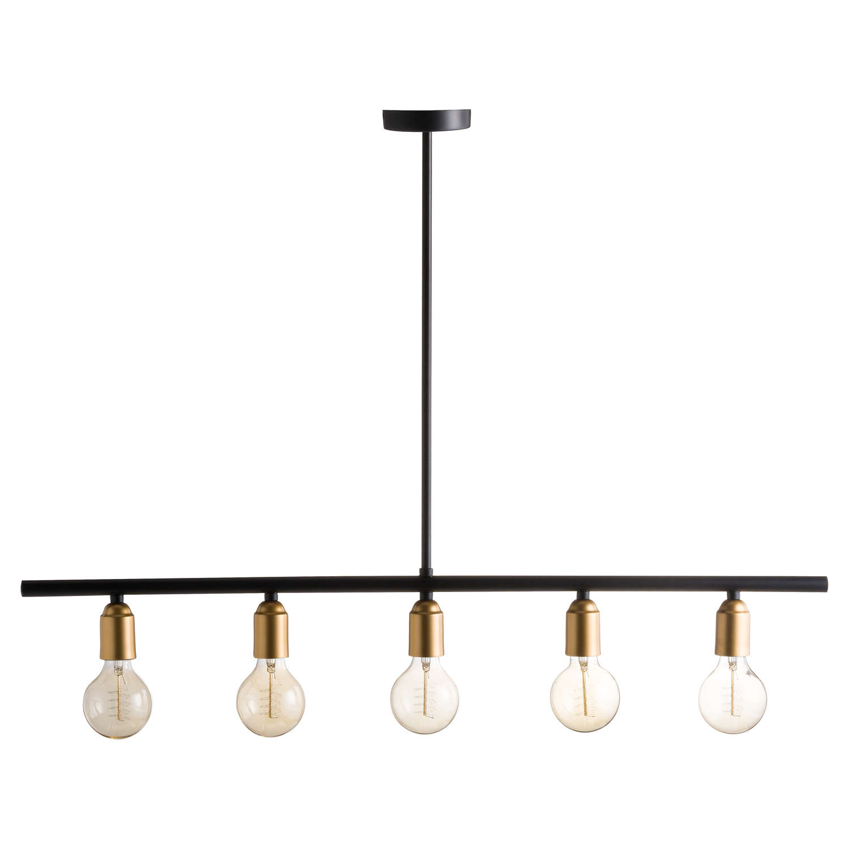 Black And Brass Industrial Five Bulb Bar Light Inner Home