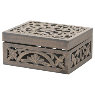 Lustro Carved Grey Wash Wooden Box