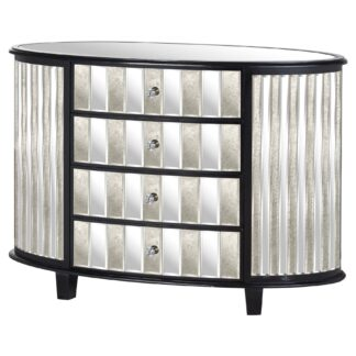 Soho Black Collection 4 Drawer Oval Chest